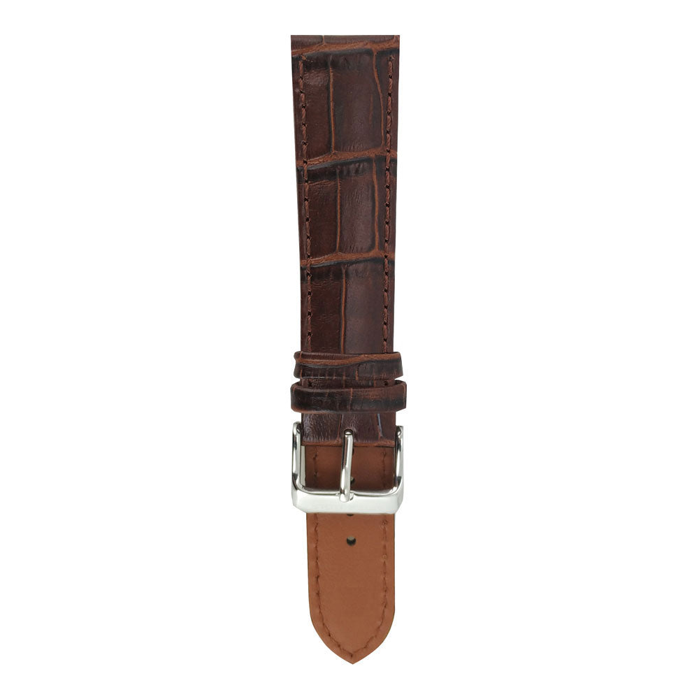 ARIES GOLD TAN BROWN CROCO AG-L0002 LEATHER STRAP