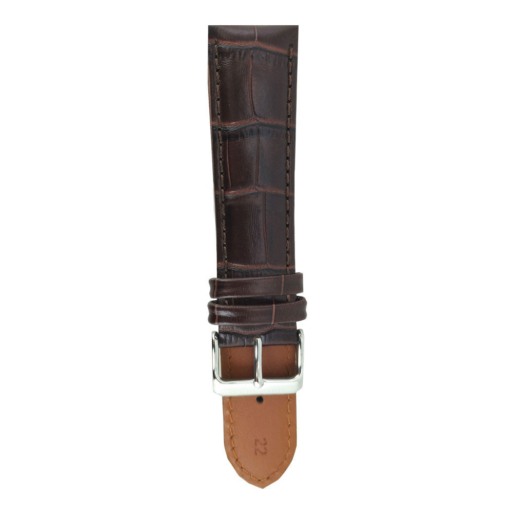 ARIES GOLD HICKORY BROWN CROCO AG-L0003 LEATHER STRAP