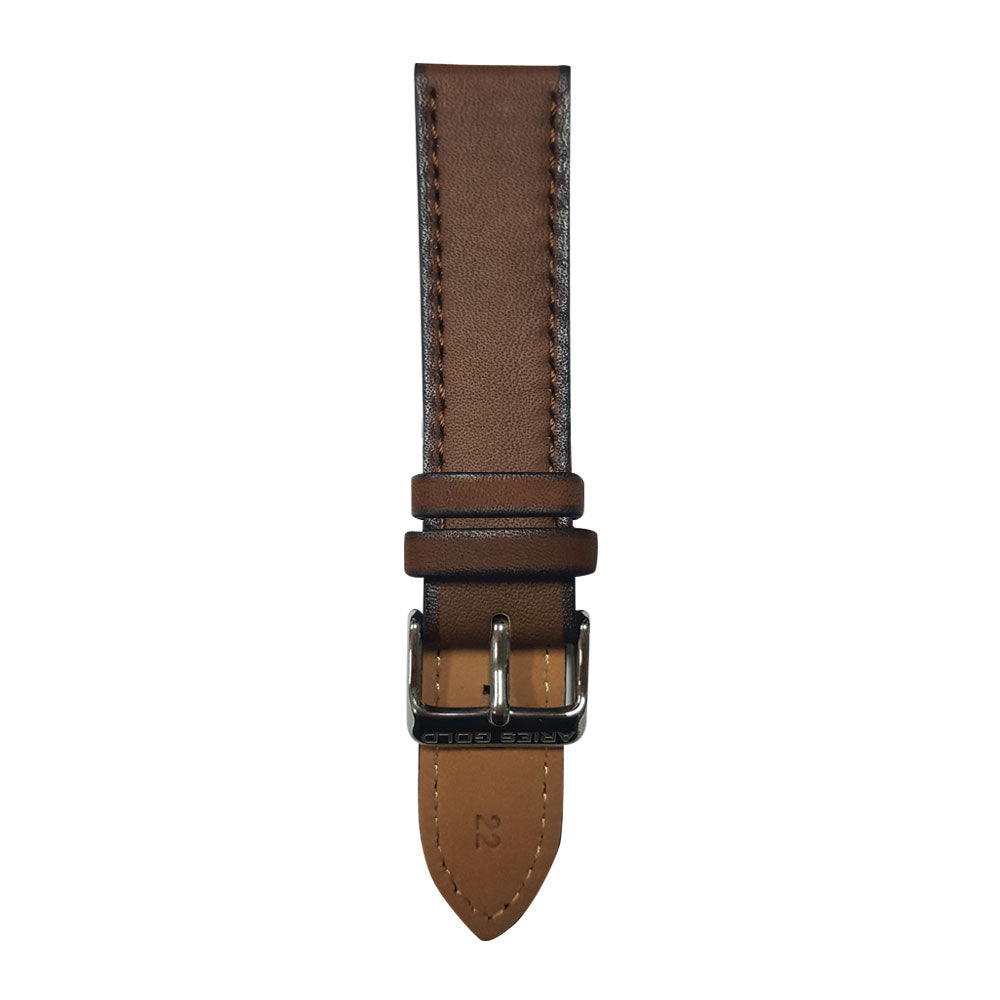 ARIES GOLD CEDAR BROWN AG-L0023 SILVER BUCKLE LEATHER STRAP