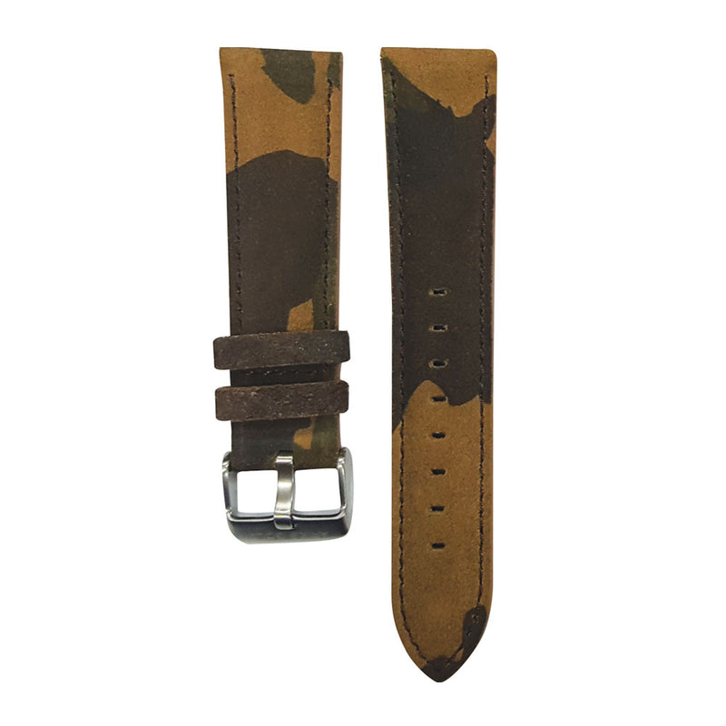 ARIES GOLD CAMO BROWN AG-L0030 SILVER BUCKLE LEATHER STRAP