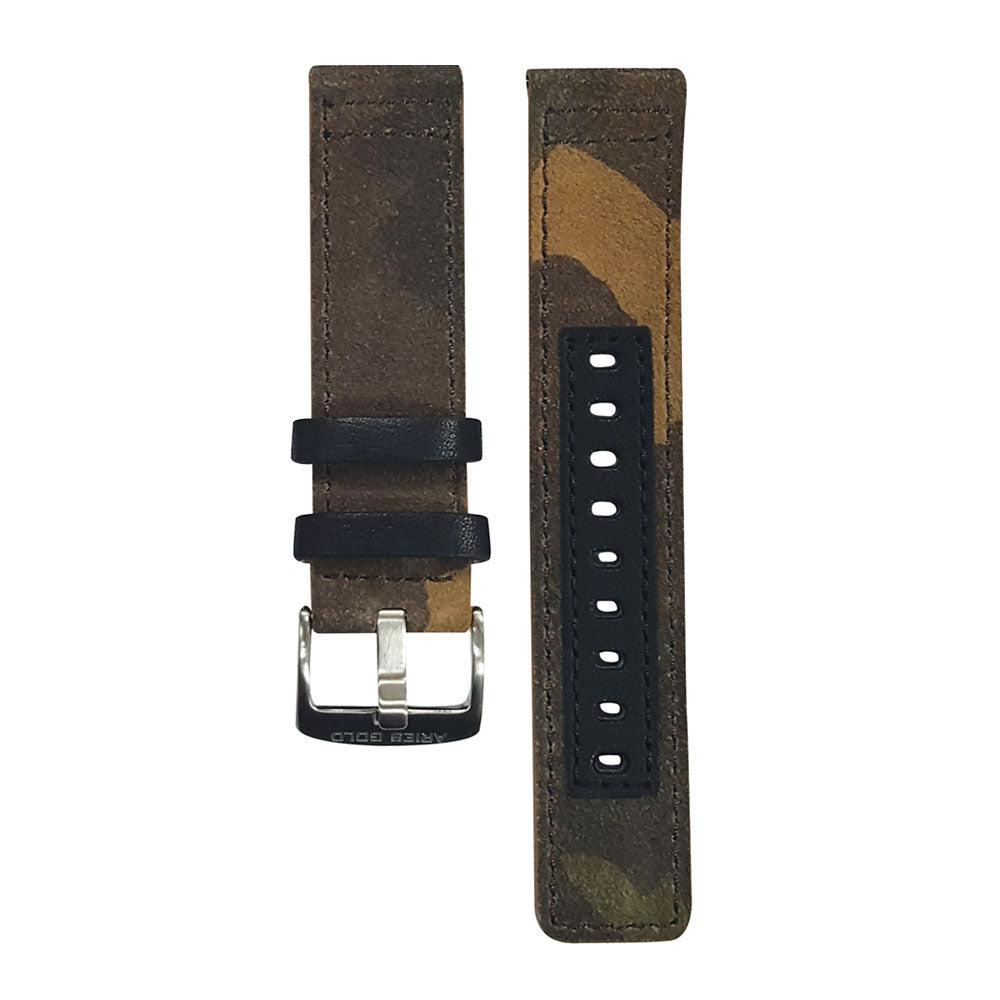 ARIES GOLD CAMO BROWN AG-L0031 SILVER BUCKLE LEATHER STRAP