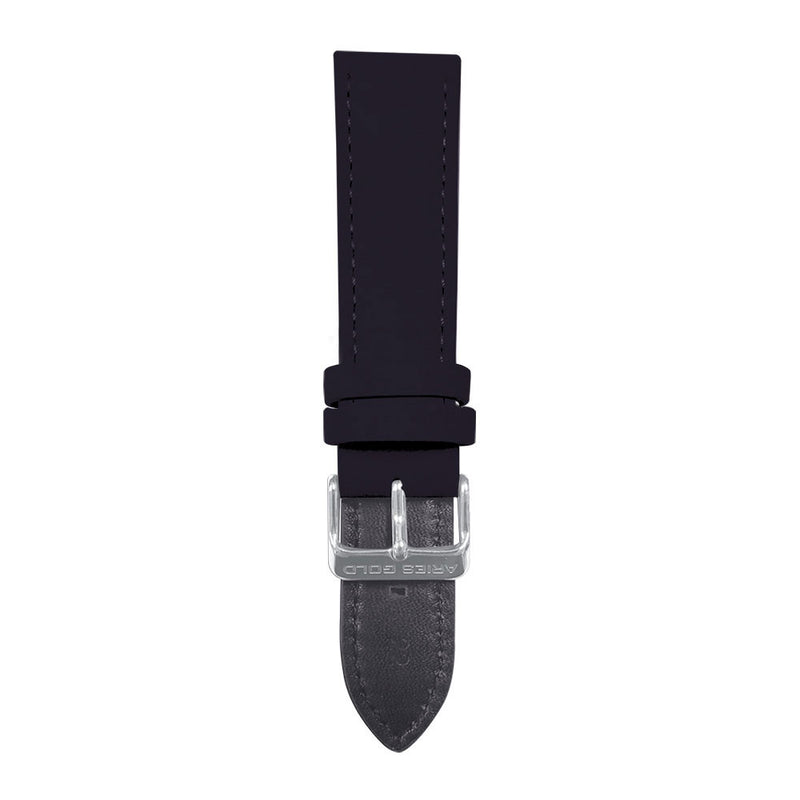 ARIES GOLD BLACK CRAZY HORSE AG-L0032 SILVER BUCKLE BLACK LEATHER STRAP