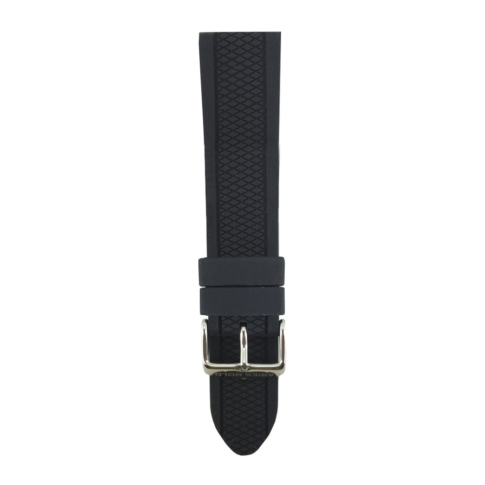 ARIES GOLD BLACK TURISMO AG-R0004 SILVER BUCKLE BLACK RUBBER STRAP