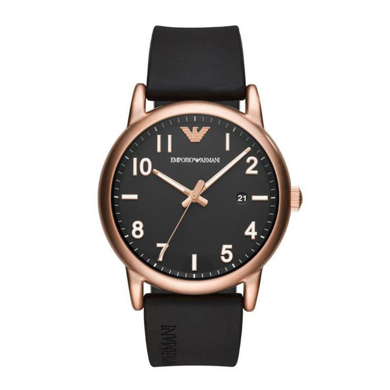 EMPORIO ARMANI ANALOG QUARTZ ROSE GOLD STAINLESS STEEL AR11097 BLACK RUBBER STRAP MEN'S WATCH