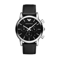 EMPORIO ARMANI CHRONOGRAPH SILVER STAINLESS STEEL AR1828 BLACK LEATHER STRAP MEN'S WATCH
