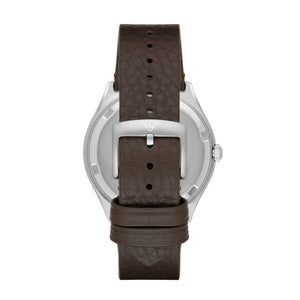 EMPORIO ARMANI ANALOG QUARTZ SILVER STAINLESS STEEL AR1999 BROWN LEATHER STRAP MEN'S WATCH