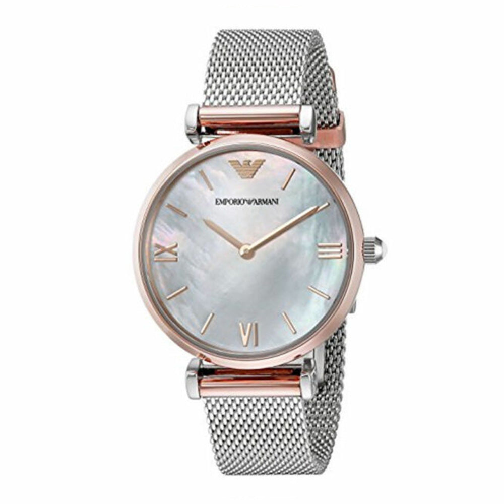 EMPORIO ARMANI MOTHER OF PEARL QUARTZ MESH STAINLESS STEEL AR2067 WOMEN'S WATCH