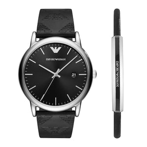 EMPORIO ARMANI ANALOG QUARTZ SILVER STAINLESS STEEL AR80012 BLACK LEATHER STRAP GIFT SET
