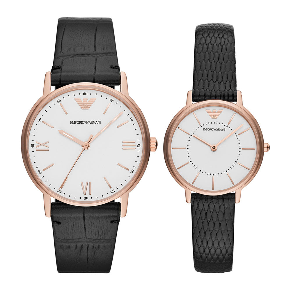 EMPORIO ARMANI ANALOG QUARTZ ROSE GOLD STAINLESS STEEL AR80015 BLACK LEATHER STRAP WATCH SET