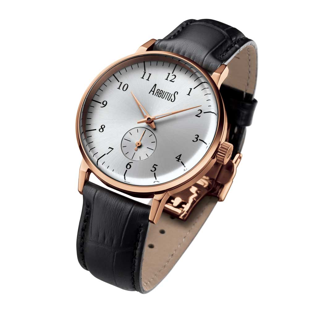 ARBUTUS AUTOMATIC ROSE GOLD STAINLESS STEEL AR804RWB BLACK LEATHER STRAP UNISEX WATCH