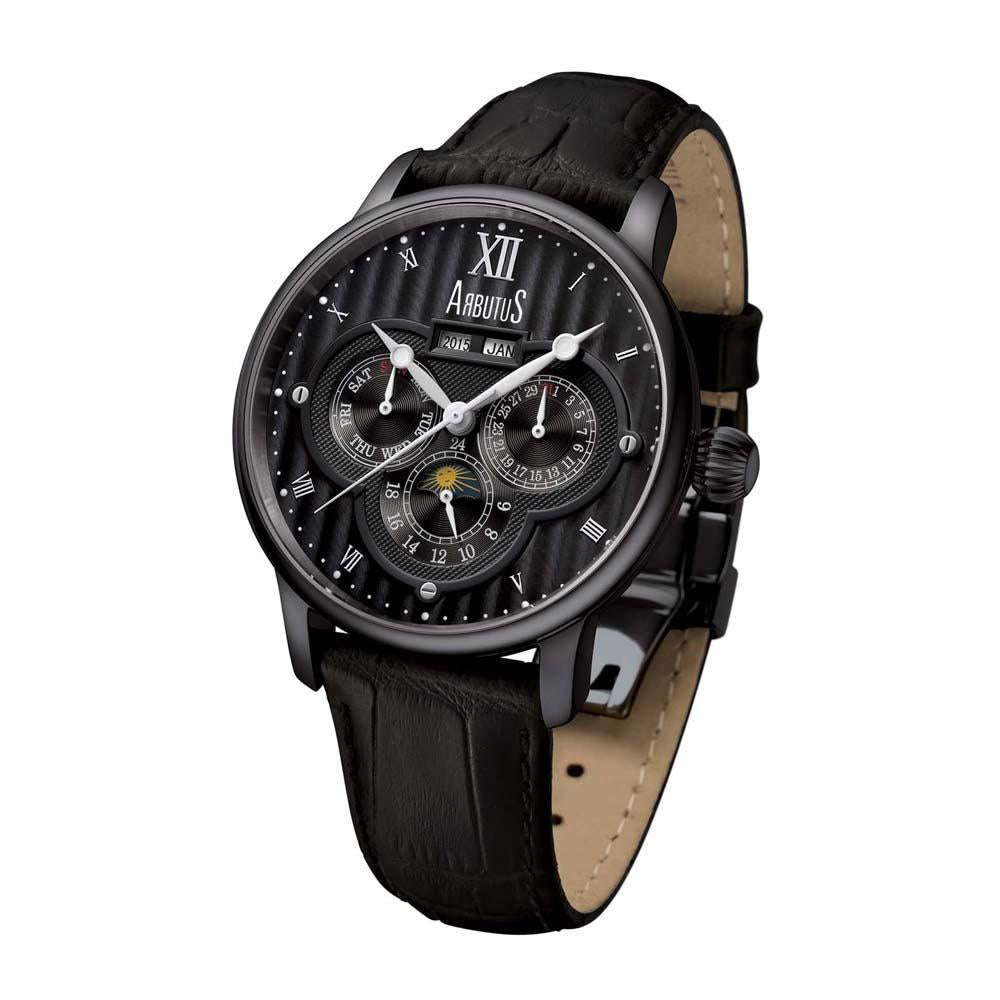 ARBUTUS AUTOMATIC BLACK STAINLESS STEEL AR905BBB LEATHER STRAP MEN'S WATCH