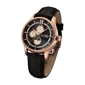 ARBUTUS AUTOMATIC ROSE GOLD STAINLESS STEEL AR907RBB BLACK LEATHER STRAP MEN'S WATCH
