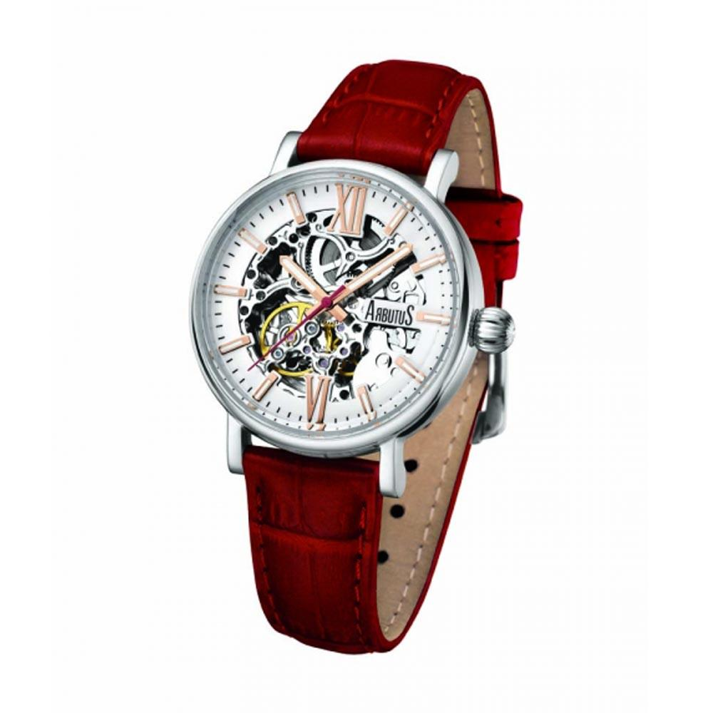 ARBUTUS AUTOMATIC SILVER STAINLESS STEEL AR910SWR RED LEATHER STRAP WOMEN'S WATCH