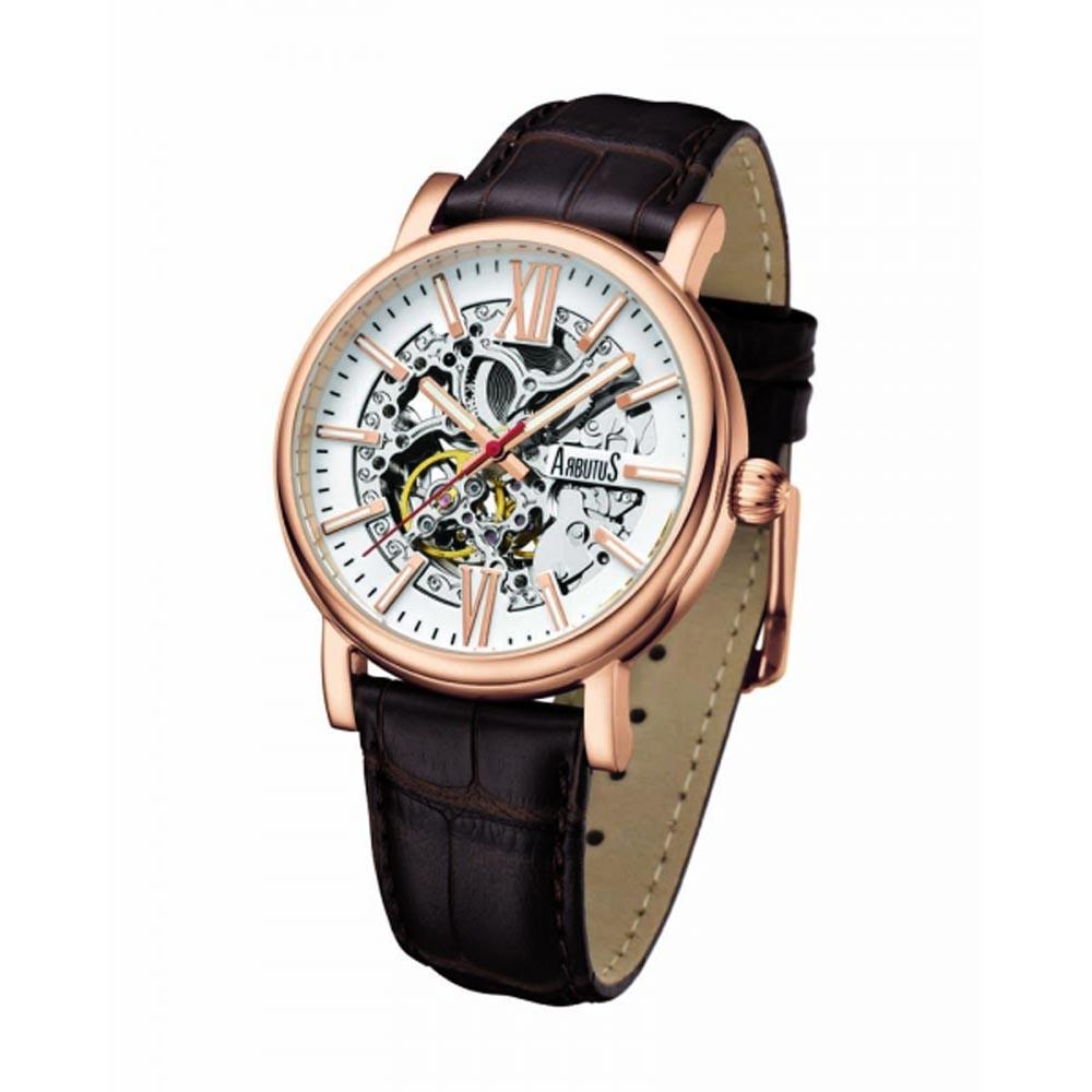ARBUTUS AUTOMATIC ROSE GOLD STAINLESS STEEL AR911RWF BROWN LEATHER STRAP MEN'S WATCH