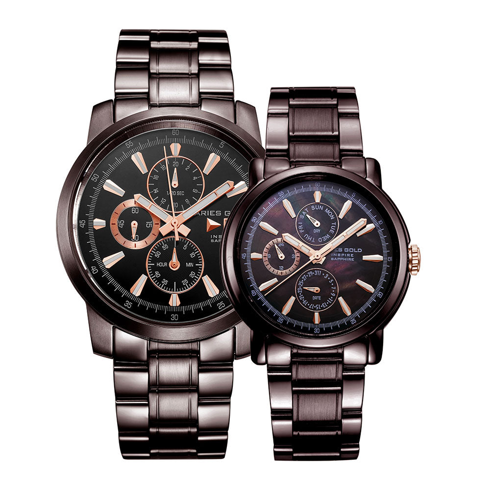 ARIES GOLD INSPIRE CONTENDER G 7301 & B 7302 CF-BKRG COUPLE'S WATCHES