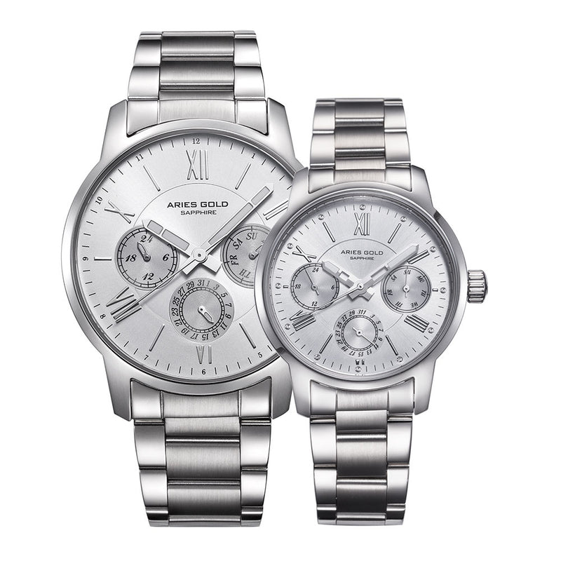 ARIES GOLD URBAN ETERNAL G 103 & B 103 S-S COUPLE'S WATCHES