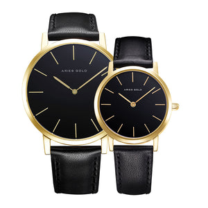 ARIES GOLD URBAN SANTOS G 1022 & L 1023 G-BK COUPLE'S WATCHES