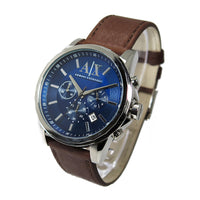 ARMANI EXCHANGE CHRONOGRAPH SILVER STAINLESS STEEL AX2501 BROWN LEATHER  STRAP MEN S WATCH 1c733eb336f3d