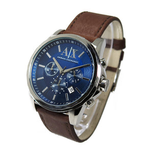 ARMANI EXCHANGE CHRONOGRAPH SILVER STAINLESS STEEL AX2501 BROWN LEATHER STRAP MEN'S WATCH