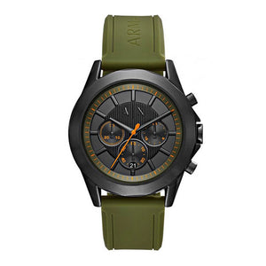 ARMANI EXCHANGE CHRONOGRAPH BLACK STAINLESS STEEL AX2608 GREEN SILICONE STRAP MEN'S WATCH