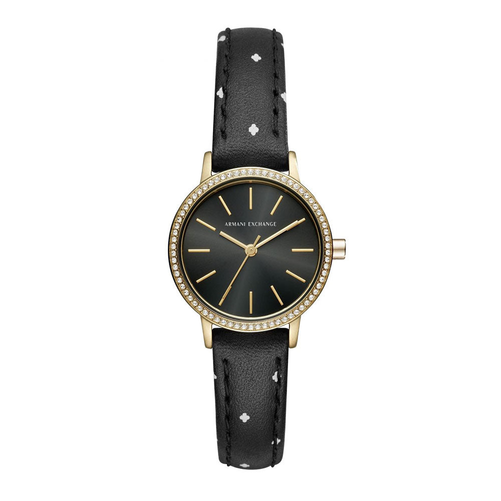 58d6dca9 ARMANI EXCHANGE ANALOG QUARTZ GOLD STAINLESS STEEL AX5543 BLACK LEATHER  STRAP WOMEN'S WATCH