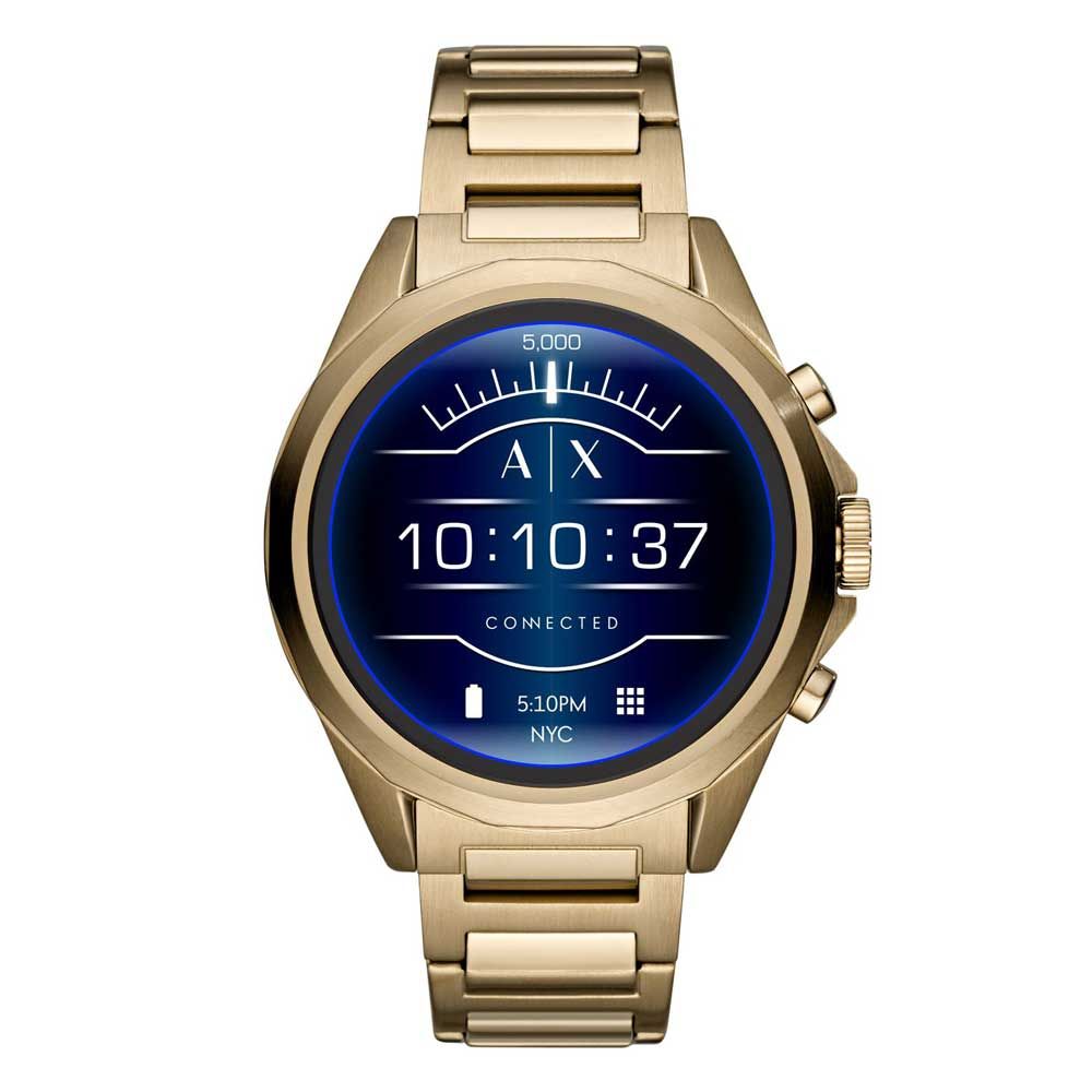ARMANI EXCHANGE CONNECTED DIGITAL ANALOG GOLD STAINLESS STEEL AXT2001 TOUCH SCREEN SMARTWATCH