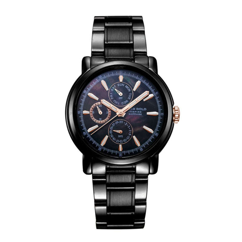 ARIES GOLD CHRONOGRAPH INSPIRE CONTENDER BLACK STAINLESS STEEL B 7302 BKR-BKRG WOMEN'S WATCH