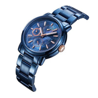 ARIES GOLD CHRONOGRAPH INSPIRE CONTENDER BLUE STAINLESS STEEL B 7302 BU-BURG WOMEN'S WATCH