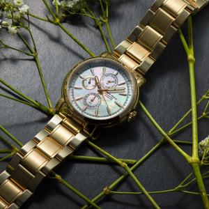 ARIES GOLD CHRONOGRAPH INSPIRE CONTENDER GOLD STAINLESS STEEL B 7302 G-MOP WOMEN'S WATCH