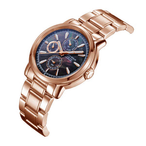ARIES GOLD CHRONOGRAPH INSPIRE CONTENDER ROSE GOLD STAINLESS STEEL B 7302 RG-BKRG WOMEN'S WATCH