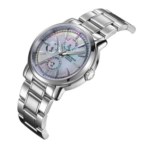 ARIES GOLD CHRONOGRAPH SILVER STAINLESS STEEL INSPIRE CONTENDER B 7302 S-MOP WOMEN'S WATCH