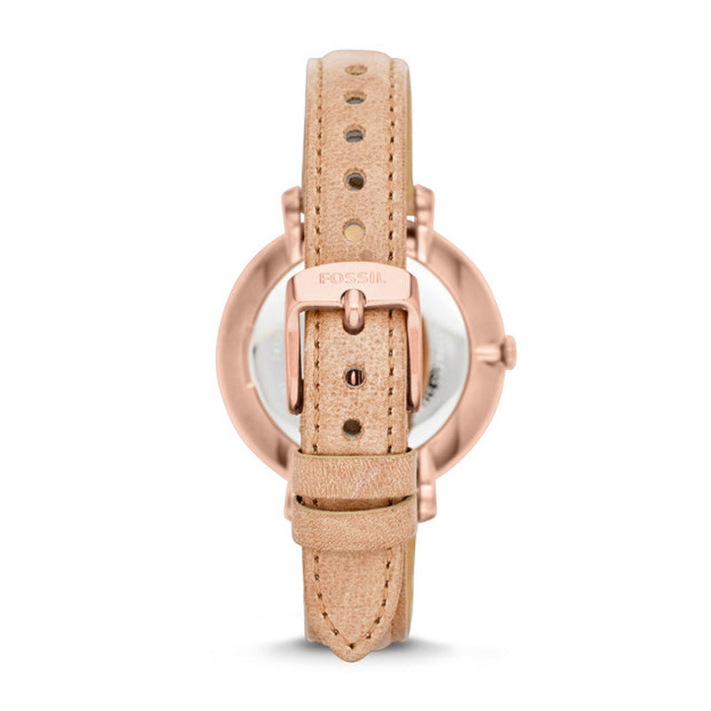 FOSSIL JACQUELINE ANALOG QUARTZ ROSE GOLD STAINLESS STEEL ES3487 BROWN LEATHER STRAP WOMEN'S WATCH