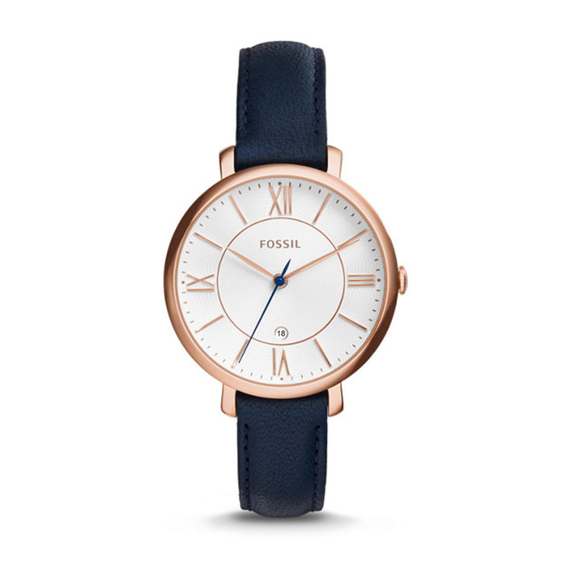 FOSSIL JACQUELINE ANALOG QUARTZ ROSE GOLD STAINLESS STEEL ES3843 BLUE LEATHER STRAP WOMEN'S WATCH