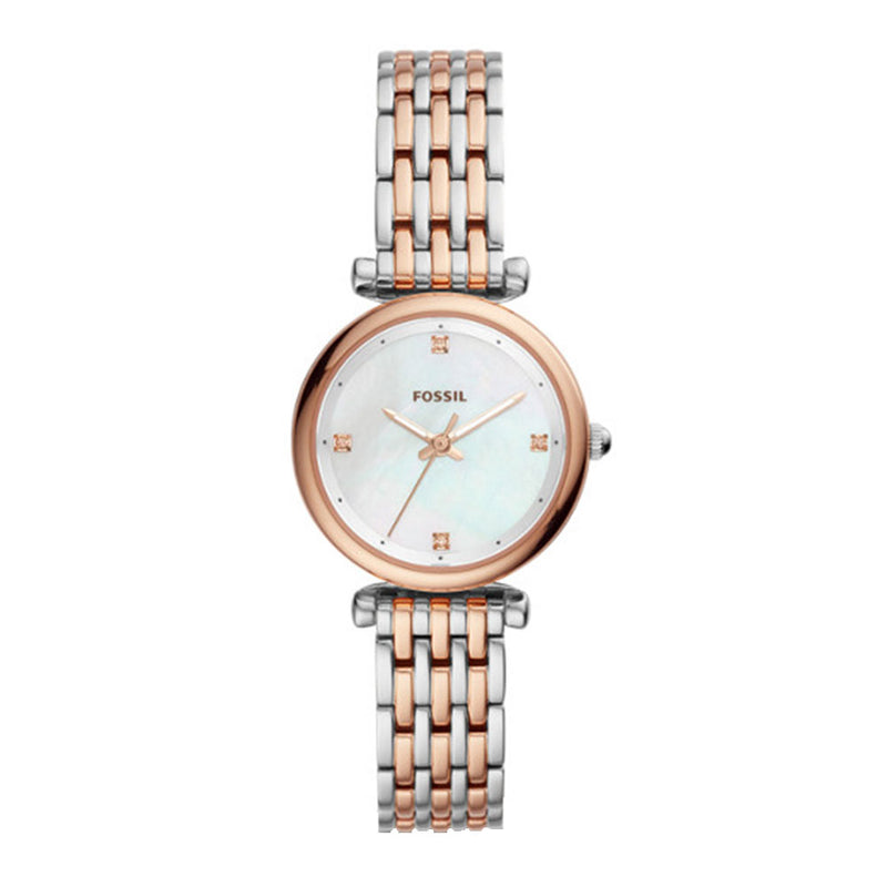 FOSSIL CARLIE MINI ANALOG QUARTZ TWO TONE STAINLESS STEEL ES4431 WOMEN'S WATCH