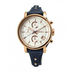FOSSIL ORIGINAL BOYFRIEND CHRONOGRAPH ROSE GOLD STAINLESS STEEL ES3838 BLUE LEATHER STRAP WOMEN'S WATCH