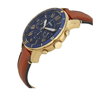 FOSSIL GRANT CHRONOGRAPH GOLD STAINLESS STEEL FS5268 MEN'S BROWN LEATHER STRAP WATCH