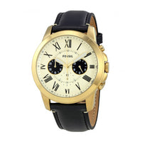 FOSSIL GRANT CHRONOGRAPH GOLD STAINLESS STEEL FS5272 MEN'S BLACK LEATHER STRAP WATCH