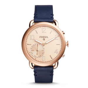 FOSSIL REFURBISHED Q TAILOR DIGITAL ROSE GOLD STAINLESS STEEL FTW1128 BLUE LEATHER STRAP HYBRID SMARTWATCH