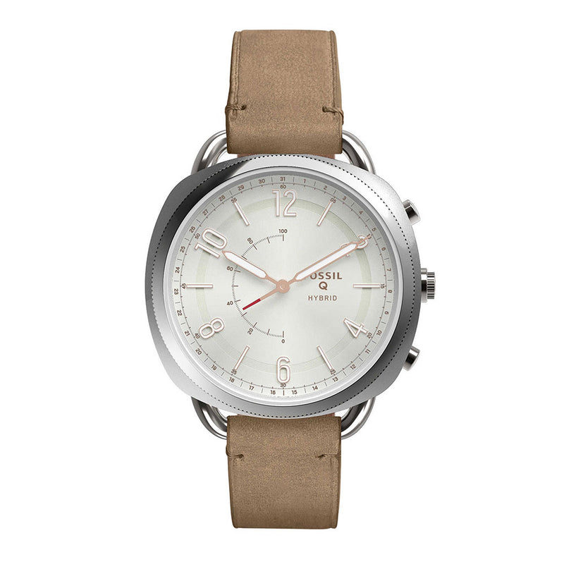 FOSSIL REFURBISHED Q ACCOMPLICE DIGITAL SILVER STAINLESS STEEL FTW1200 BROWN LEATHER STRAP HYBRID SMARTWATCH