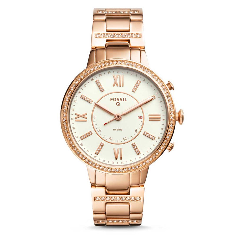 FOSSIL VIRGINIA DIGITAL ROSE GOLD STAINLESS STEEL FTW5010 HYBRID SMARTWATCH