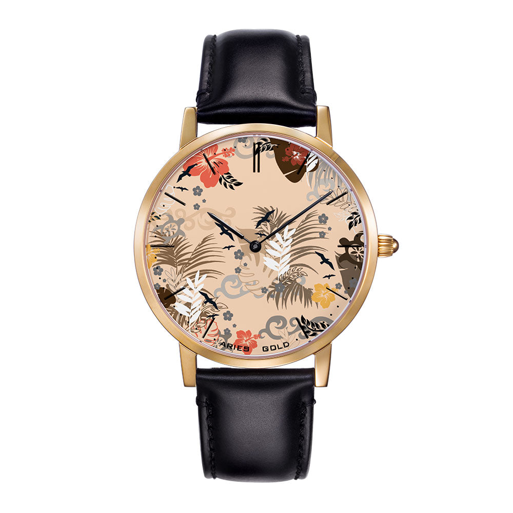 ARIES GOLD CUSTOMISED GOLD STAINLESS STEEL WATCH - NUDE FLORAL LEATHER STRAP WOMAN'S WATCH