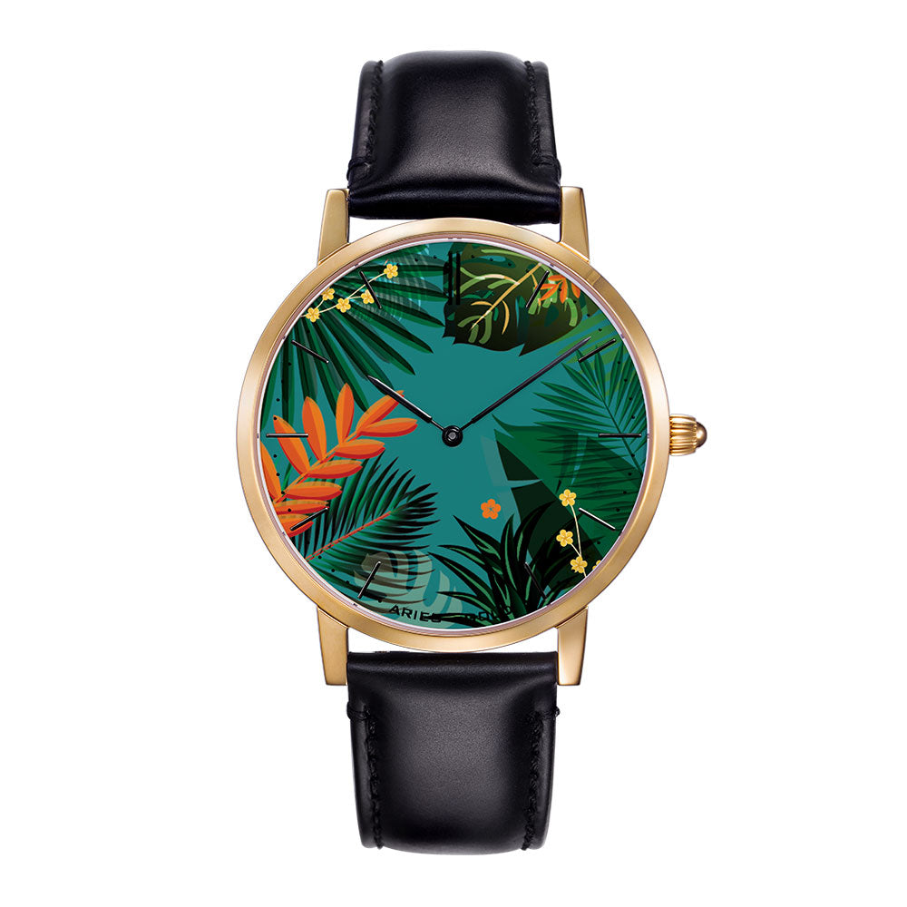 ARIES GOLD CUSTOMISED WATCH - GREEN FLORAL WOMAN'S WATCH