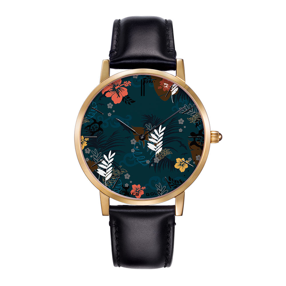 ARIES GOLD CUSTOMISED WATCH - BLUE FLORAL WOMAN'S WATCH