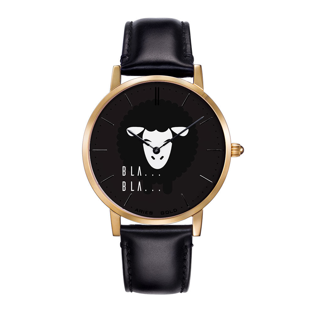 ARIES GOLD CUSTOMISED WATCH - BLA BLA BLACK UNISEX WATCH