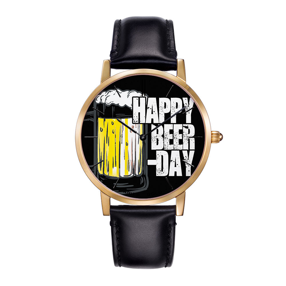 ARIES GOLD CUSTOMISED WATCH - HAPPY BEER DAY BLACK UNISEX WATCH