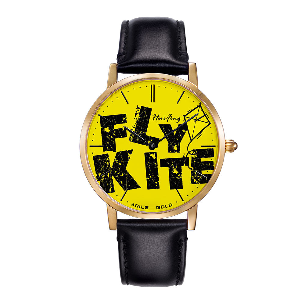 ARIES GOLD CUSTOMISED WATCH - FLY KITE YELLOW UNISEX WATCH