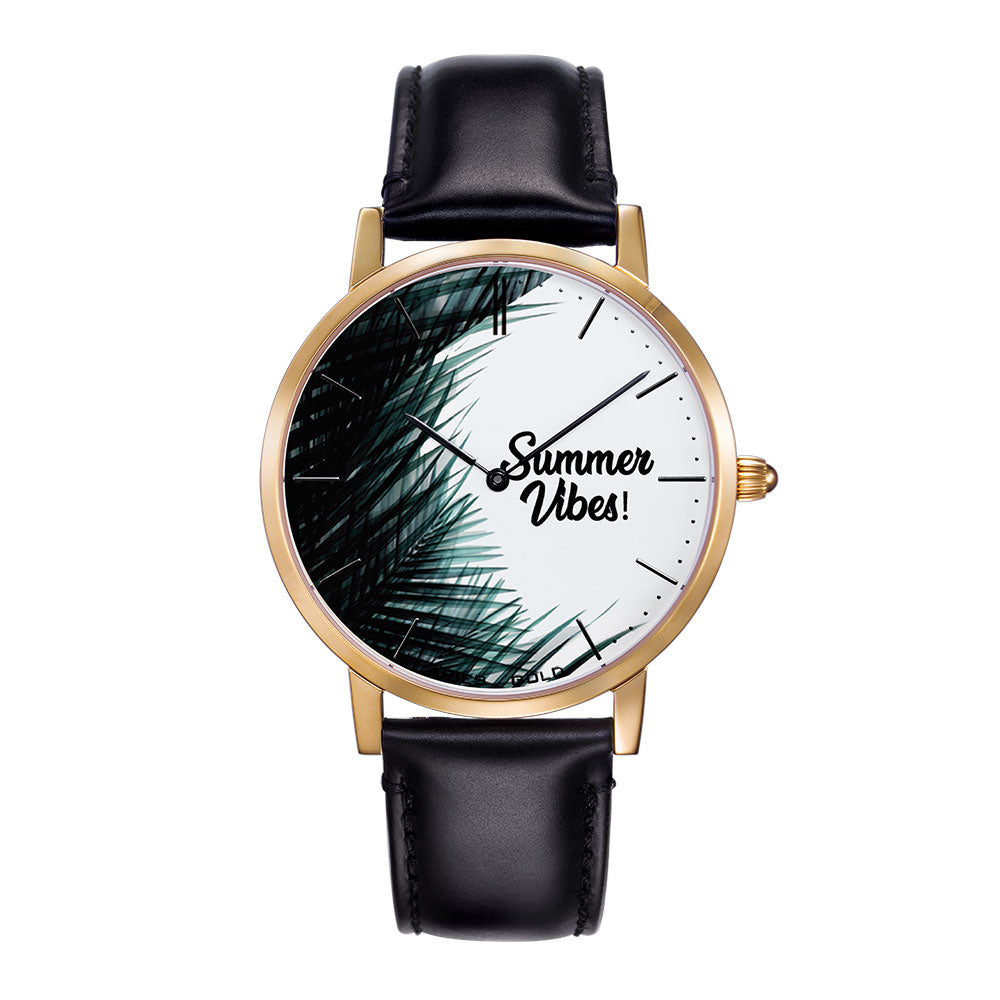 ARIES GOLD CUSTOMISED WATCH - SUMMER VIBES PALM LEAVES UNISEX WATCH