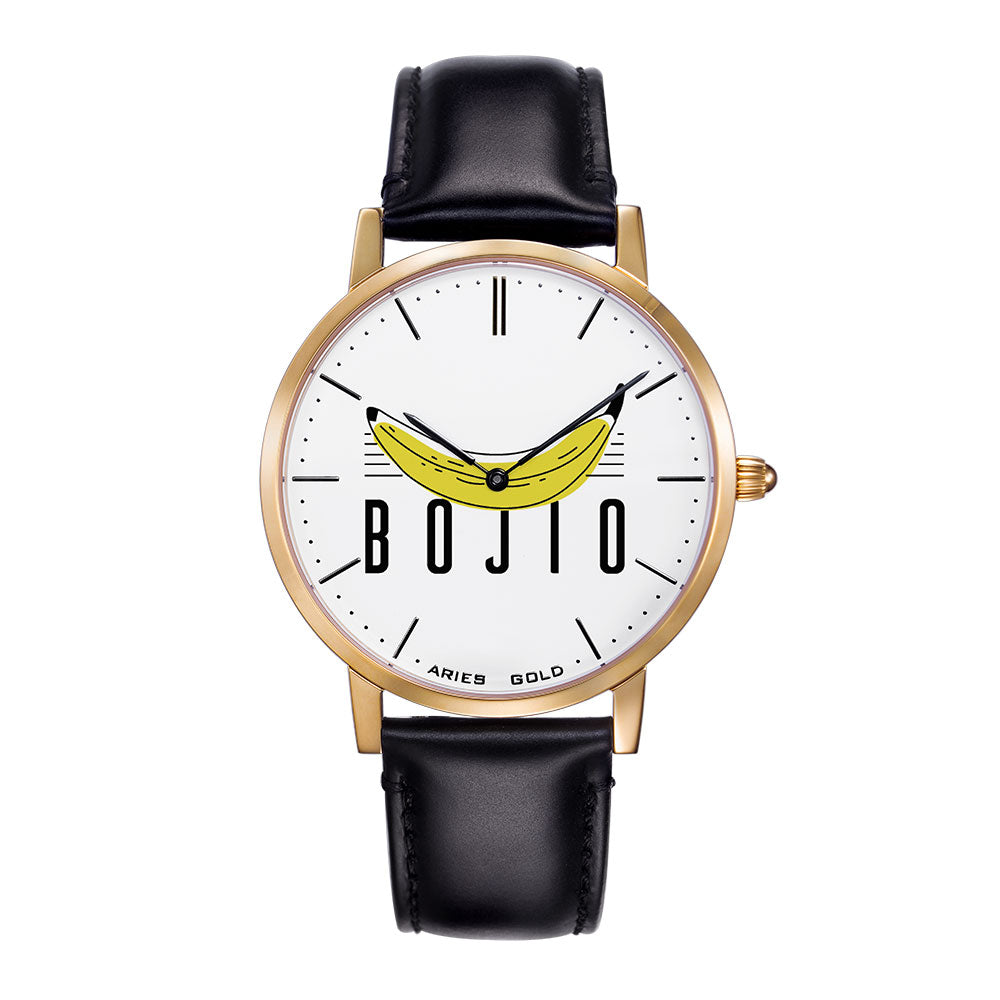 ARIES GOLD CUSTOMISED WATCH -  BOJIO WHITE UNISEX WATCH