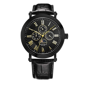 ARIES GOLD URBAN KENSINGTON BLACK STAINLESS STEEL G 101 G-BKG LEATHER STRAP MEN'S WATCH