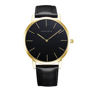 ARIES GOLD URBAN SANTOS GOLD STAINLESS STEEL G 1022 G-BK BLACK LEATHER STRAP MEN'S WATCH